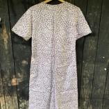 vestito bottoni cotone bio viola gocce retro