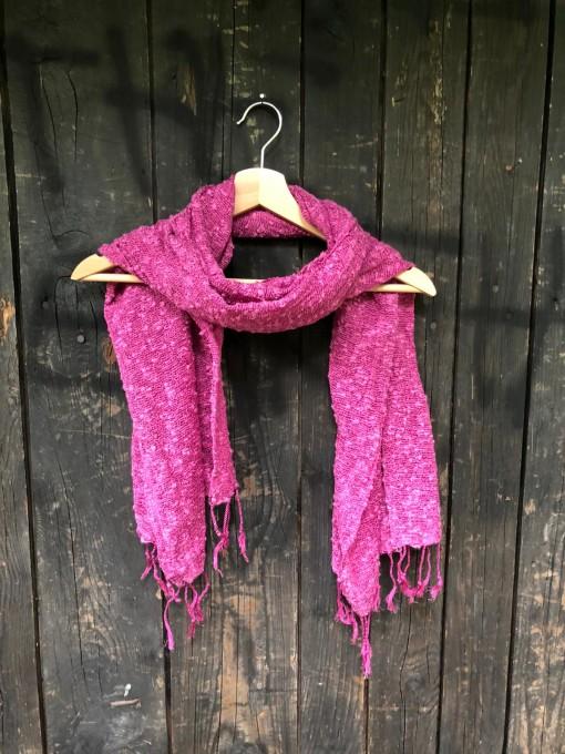 sciarpa loom seta cotone fuxia 1