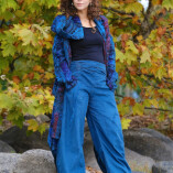pantaloni velluto aladino turchese