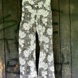 pantaloni bottoni cotone bio stampa fiori nera finale
