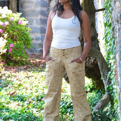 pantaloni cotone bio tintura vegetale fascia elastica