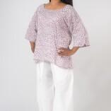 Camicia Ampia Cotone Bio Tintura Vegetale Purple Rain Print-1