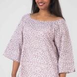 Camicia Ampia Cotone Bio Tintura Vegetale Purple Rain Print-2