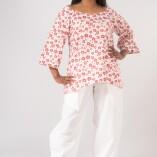 Camicia Ampia Cotone Bio Tintura Vegetale Red Flower Print-1