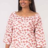 Camicia Ampia Cotone Bio Tintura Vegetale Red Flower Print-2