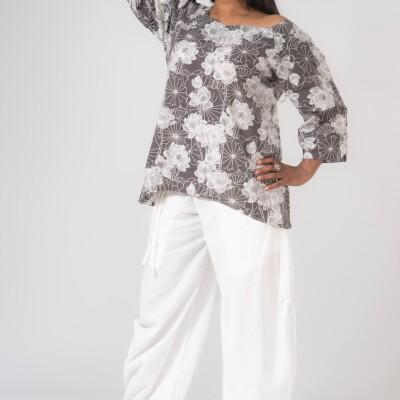 Camicia Larga Cotone Black&White Lotus Print-3