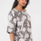 Camicia Larga Cotone Black&White Lotus Print-2