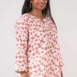 Camicia Ampia Scollo Coreana Cotone Bio Tintura Vegetale Red Flower Print-3