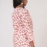 Camicia Ampia Scollo Coreana Cotone Bio Tintura Vegetale Red Flower Print-4