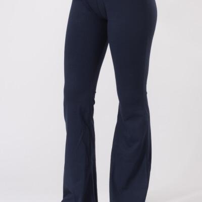 Leggings Lunghi Zampa Jersey di Cotone Blu-1