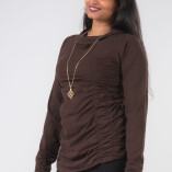 Maglietta Arricciata Manica Lunga Collo Alto Jersey di Cotone Marrone-2