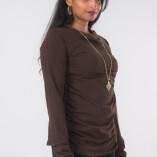 Maglietta Arricciata Manica Lunga Collo Alto Jersey di Cotone Marrone-3