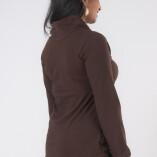 Maglietta Arricciata Manica Lunga Collo Alto Jersey di Cotone Marrone-4