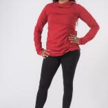 Maglietta Arricciata Manica Lunga Collo Alto Jersey di Cotone Rosso-1