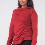 Maglietta Arricciata Manica Lunga Collo Alto Jersey di Cotone Rosso-2