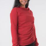 Maglietta Arricciata Manica Lunga Collo Alto Jersey di Cotone Rosso-3