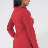 Maglietta Arricciata Manica Lunga Collo Alto Jersey di Cotone Rosso-4
