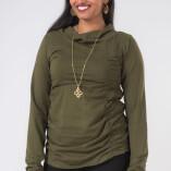 Maglietta Arricciata Manica Lunga Collo Alto Jersey di Cotone Verde Militare-1