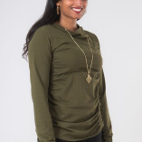 Maglietta Arricciata Manica Lunga Collo Alto Jersey di Cotone Verde Militare-2