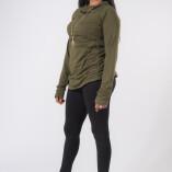 Maglietta Arricciata Manica Lunga Collo Alto Jersey di Cotone Verde Militare-3