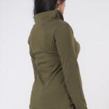 Maglietta Arricciata Manica Lunga Collo Alto Jersey di Cotone Verde Militare-4