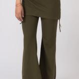 Pantaloni con Gonnellina in Bambù Verde Militare-1