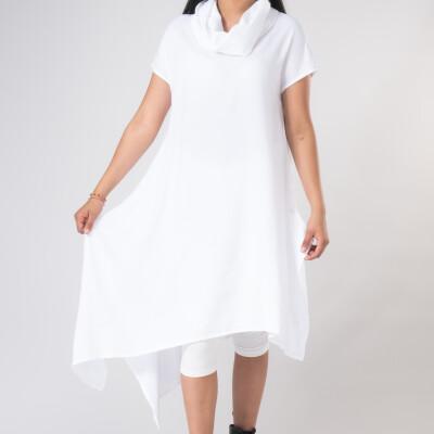 Vestitino Collo Alto e Punte in Viscosa Bianco-1