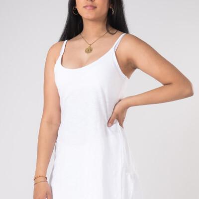 Vestitino Corto Linee Dietro Bambù Bianco-1