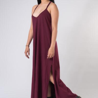Vestito Lungo Hemp Bambù Bordeaux-1