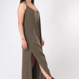 Vestito Lungo Hemp Bambù Verde Militare-1