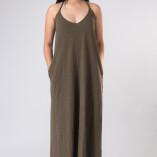 Vestito Lungo Hemp Bambù Verde Militare-3