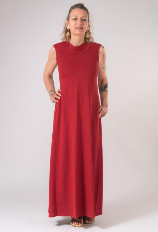 Vestito Lungo Scollo Dietro Bambù Rosso-1