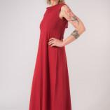 Vestito Lungo Scollo Dietro Bambù Rosso-2