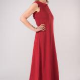 Vestito Lungo Scollo Dietro Bambù Rosso-3
