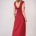 Vestito Lungo Scollo Dietro Bambù Rosso-4