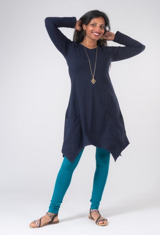 Vestito Punte Tasche Jersey di Cotone Blu-1