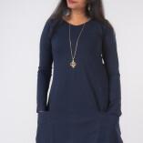 Vestito Punte Tasche Jersey di Cotone Blu-2