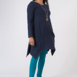 Vestito Punte Tasche Jersey di Cotone Blu-3