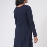 Vestito Punte Tasche Jersey di Cotone Blu-4