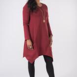 Vestito Punte Tasche Jersey di Cotone Bordeaux-2