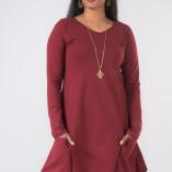 Vestito Punte Tasche Jersey di Cotone Bordeaux-3