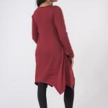 Vestito Punte Tasche Jersey di Cotone Bordeaux-4