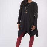 Vestito Punte Tasche Jersey di Cotone Nero-1