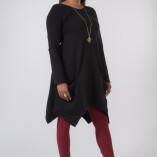 Vestito Punte Tasche Jersey di Cotone Nero-2