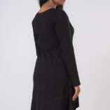 Vestito Punte Tasche Jersey di Cotone Nero-3