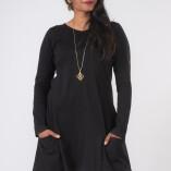 Vestito Punte Tasche Jersey di Cotone Nero-4